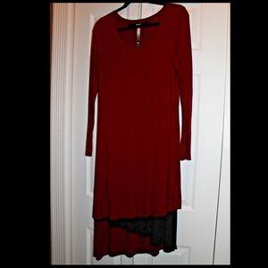 KENSIE Burgundy Asymmetrical Tier Midi Dress